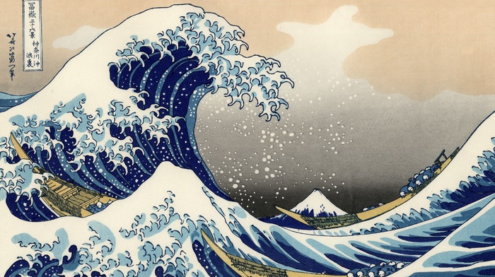 waves, classic art, The Great Wave off Kanagawa, Japanese, painting
