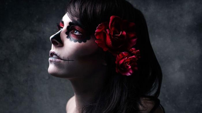artwork, skull, Hannah Ray, photography, fantasy art, Gothic, girl, sugar skull