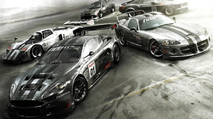 Форд, Aston Martin, Ford Mustang, маслкар, машина, гоночные машины, Ниссан