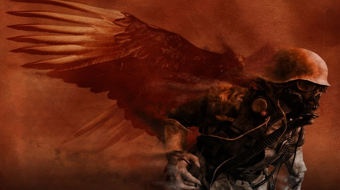 fantasy art, death, soldier, artwork, concept art, gas masks, demon