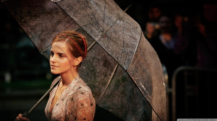 actress, girl, Emma Watson, brunette, cleavage, umbrella