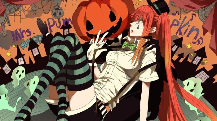 twintails, Halloween, Vocaloid, green eyes, redhead, pumpkin, thigh, highs, orange hair, chess, Hatsune Miku, anime