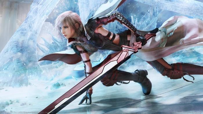 Claire Farron, Final Fantasy XIII, video games, ice, sword, Final Fantasy
