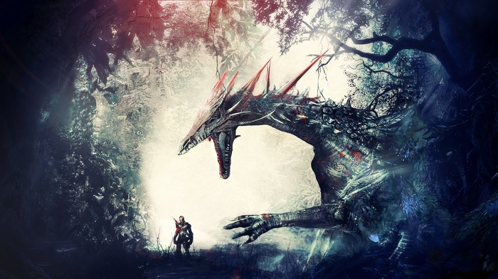 knights, forest, dragon, artwork, warrior, fantasy art, Dragon Age Origins