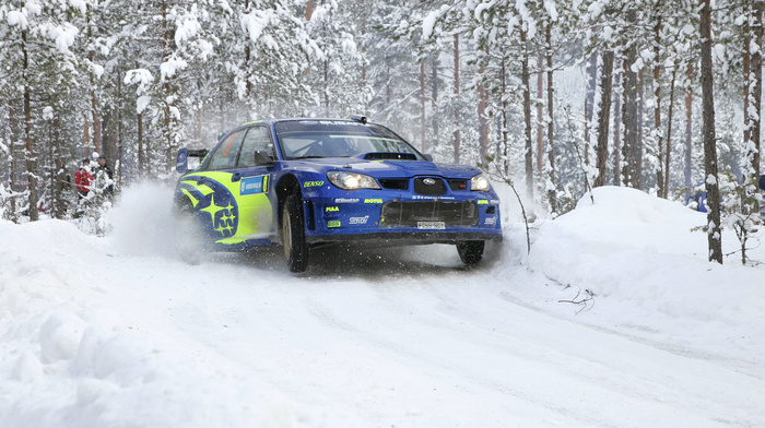 headlights, white, snow, cars, winter, race, Subaru, blue