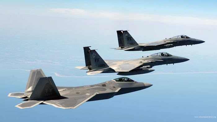 military aircraft, F22, Raptor, f, 15 eagle, airplane, jets
