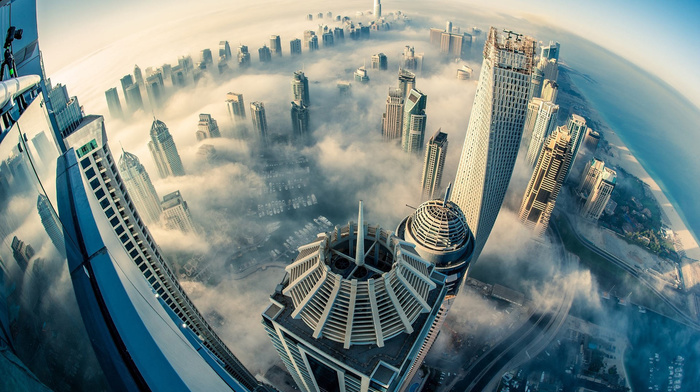 cities, mist, height, Dubai, city, clouds