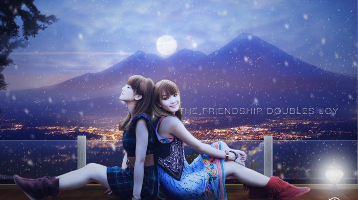 snow, Asian, photo manipulation, Adobe Photoshop, landscape, moon, night, cityscape, mountain, Friends