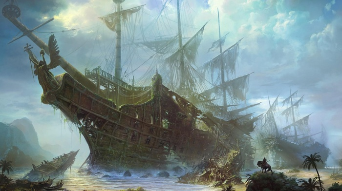 mountain, ships, sea, painting, jungle, stunner, people, sky, clouds