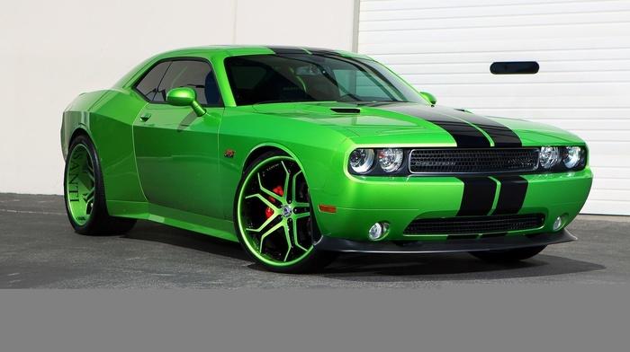 auto, wheels, cars, Dodge, green, tuning, garage