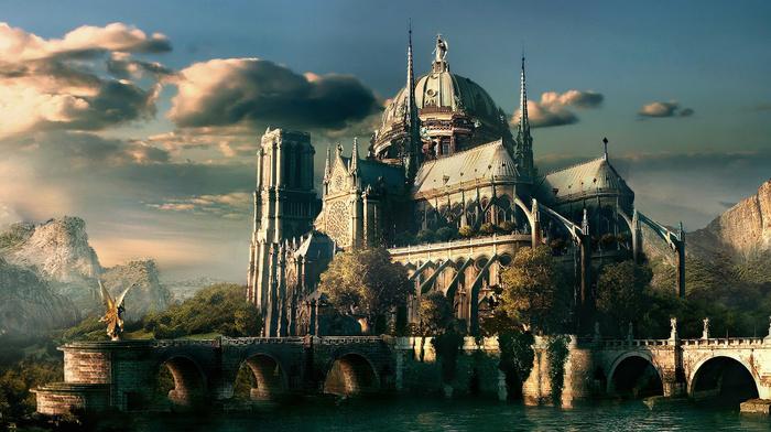 castle, river, stunner, forest, mountain, fantasy, sky, lake