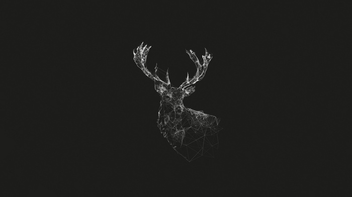 monochrome, abstract, deer, geometry, gray, lines, digital art, stags, artwork, simple, nature, wireframe, animals