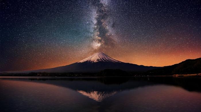 nature, landscape, stars, mountain, long exposure, night, lake