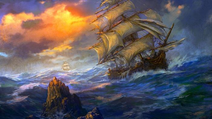 ships, Sun, ocean, stunner, storm, sailfish, rock, clouds