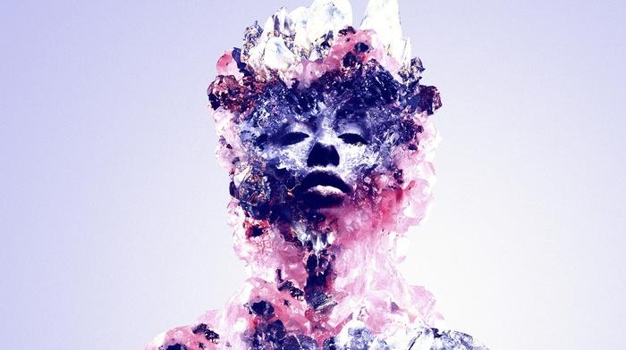 face, crystal, abstract, Justin Maller, digital art