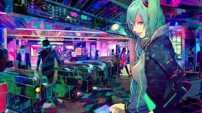 Vocaloid, Hatsune Miku, train station, cyberpunk, headphones, pink