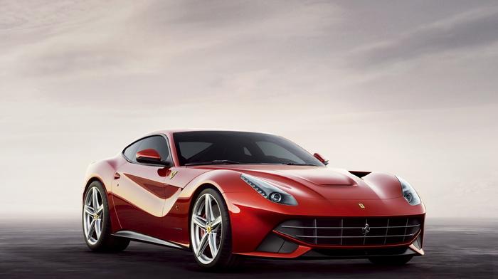 white, sky, gray, red, sportcar, cars, wheels, Ferrari, background, road
