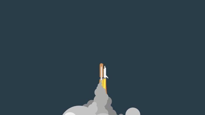 space shuttle, spaceship, minimalism, rockets