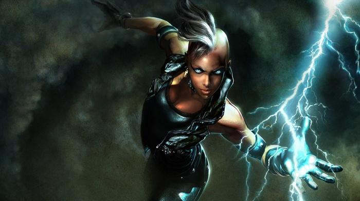 superheroines, Marvel Comics, Storm character, fantasy art