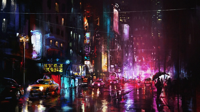 neon, reflection, urban, painting, cityscape