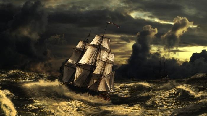 sailfish, stunner, sky, storm, clouds, wave, ship, painting