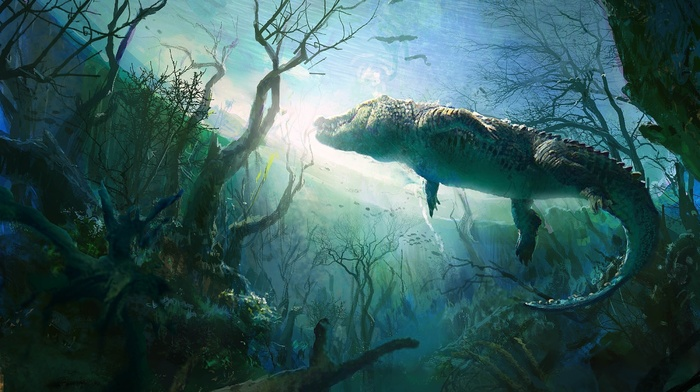 stunner, light, painting, blue, painting, lake, river