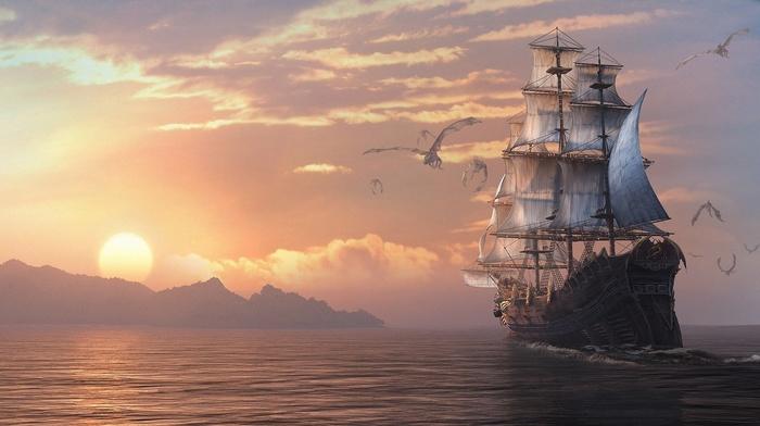 dragon, painting, clouds, sunset, fantasy, mountain, painting, sailfish, sky, ocean, Sun