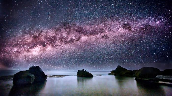 rocks, Milky Way, stunner, sky, night, stars, space, sea, ocean