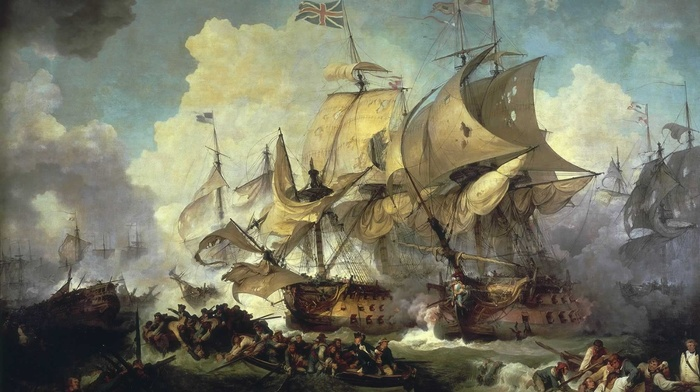 boat, british flag, clouds, painting, naval battles, classic art, battle, ship