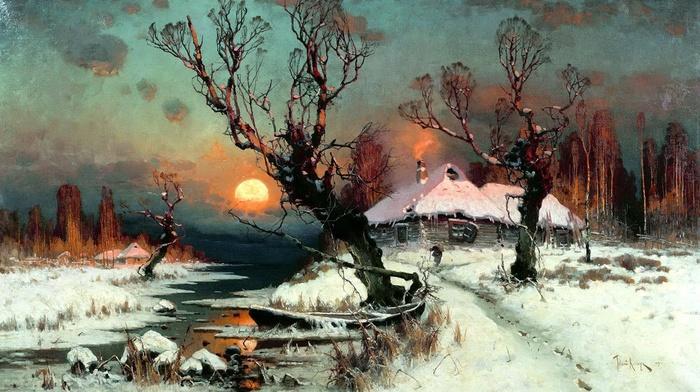 winter, Sun, snow, classic art, cottage, painting, dead trees, stream