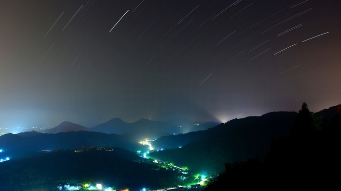 stars, blue, star trails, cityscape, hill, shooting stars, valley, green, lights