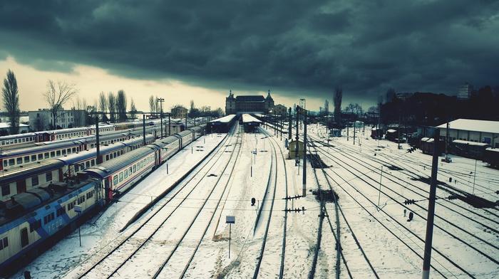 city, railway, train station, Istanbul, snow