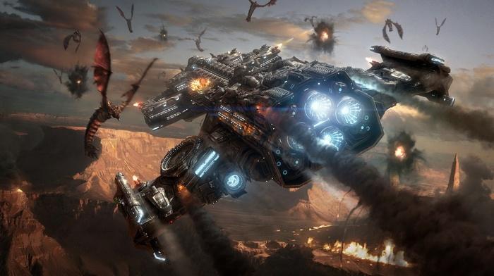 Starcraft II, космический корабль, чужие, StarCraft, фантастическое исскуство