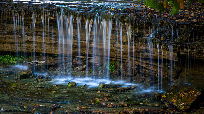 water, greenery, creek, stones, nature, leaves, river
