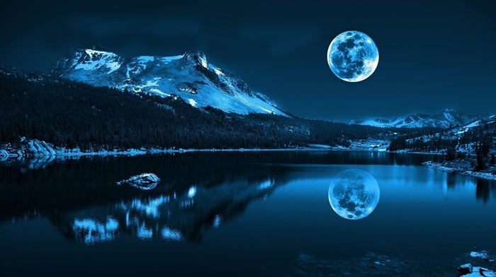 forest, pond, winter, moonlight, lake, mountain, nature, water, landscape, trees, blue, moon