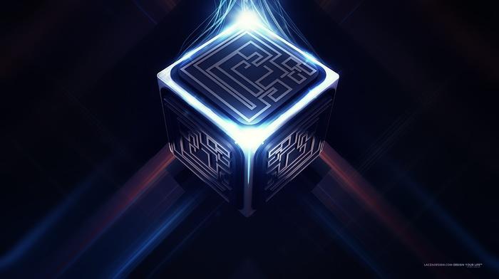 cube, digital art, lacza, futuristic, abstract, glowing
