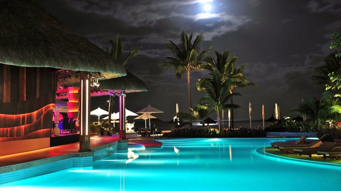 lights, sky, lighting, night, swimming pool, clouds, beauty, moon, lodge