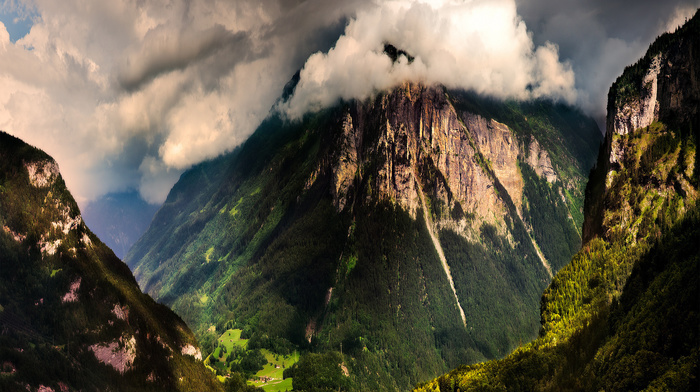 clouds, sky, nature, forest, Alps, mountain, Switzerland