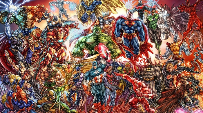 Captain America, The Flash, Thor, spider, man, Superman, Green Lantern, Batman, Hulk, The Avengers, Wolverine