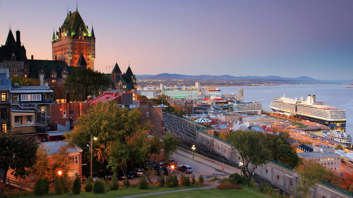 houses, embankment, city, sea, bay, nature, castle, Canada