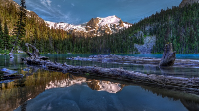 HDR, nature, lake, reflection, mountain