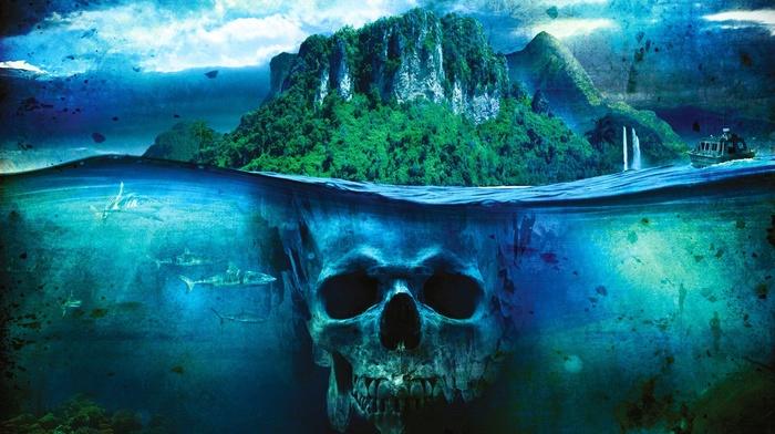 skull, sea, shark, split view, boat, island, Far Cry 3, fantasy art, ship
