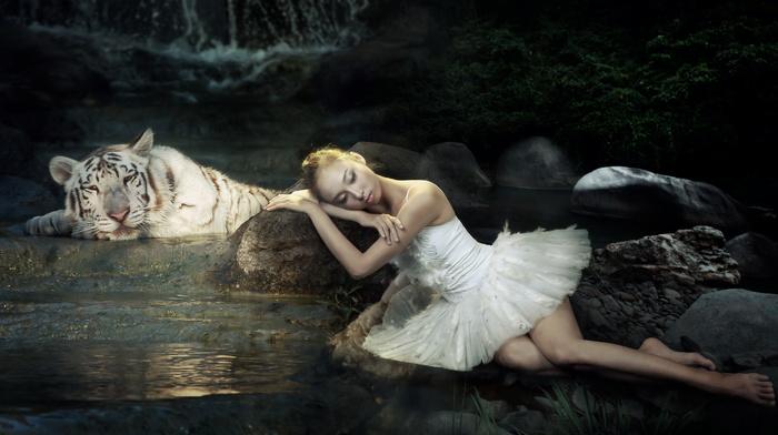 stones, creek, girl, ballerina, creative, photoshop, white, tiger