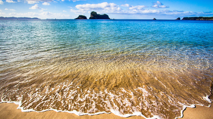 nature, rock, sea, clouds, surf, horizon, sky, sand