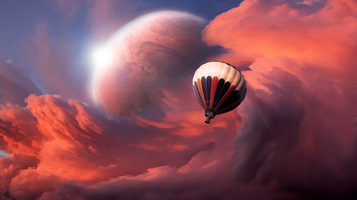 planet, hot air balloons, clouds, abstract, glowing, artwork