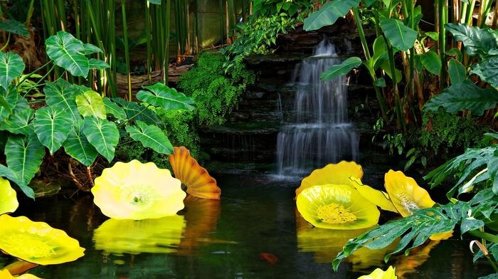 pond, beautiful, waterfall, park, nature, yellow, flowers, stunner
