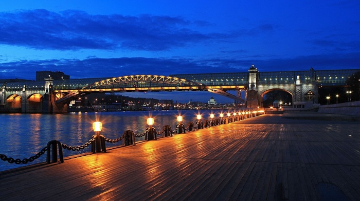 lights, beauty, cities, embankment, river, sky, bridge, night, lighting