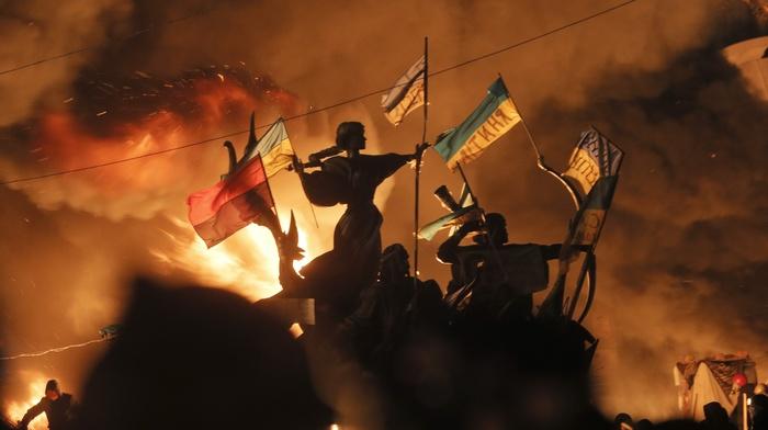 флаг, Украина, огонь