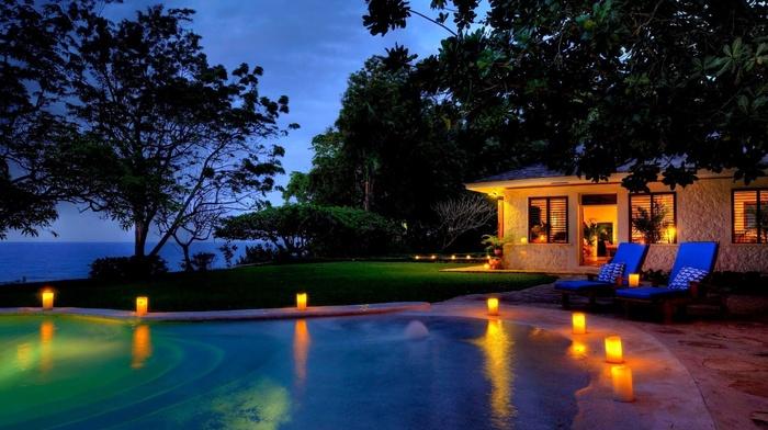 resort, lodge, trees, swimming pool, ocean, greenery, lighting, night, lights