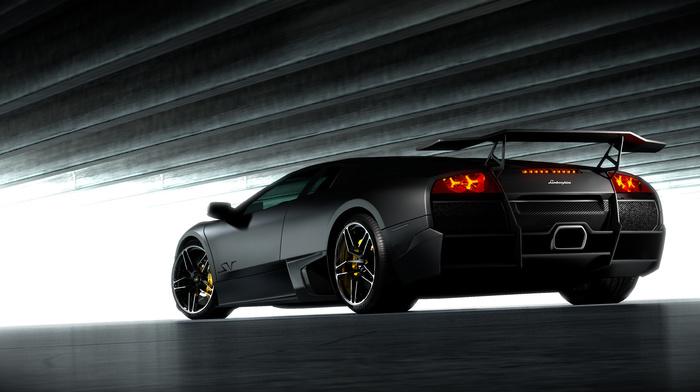 Italy, sportcar, tuning, black, gray background, Lamborghini, wheels, supercar, cars